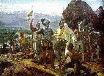 Fundación de Santiago de Nueva Extremadura, actual Santiago de Chile, por el conquistador Pedro de Valdivia