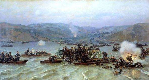 Rusos cruzando el Danubio, obra de Nikolai Dmitriev-Orenburgsky, en 1883