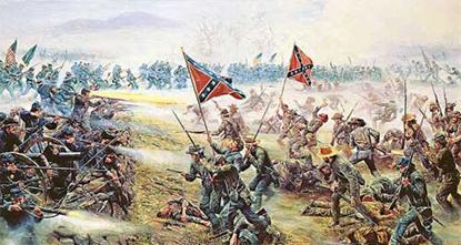 Representación de batalla: La Unión (izquierda) frente a la Confederación (derecha)