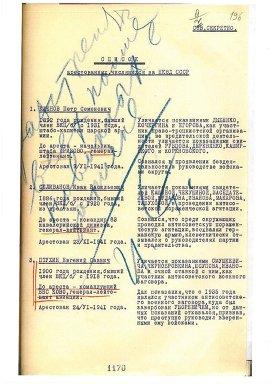 Copia de una lista de ejecuciones, con las anotaciones azules de Stalin.