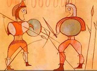 Guerreros numantinos – detalle en cerámica