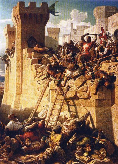 Los Caballeros defendiendo San Juan de Acre en 1291.