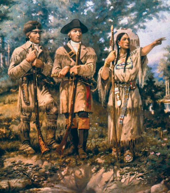 Lewis,Clark y Sacagawea