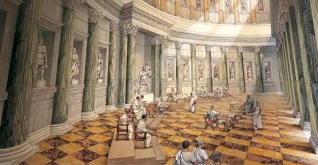 Reconstrucción de una de las exedras