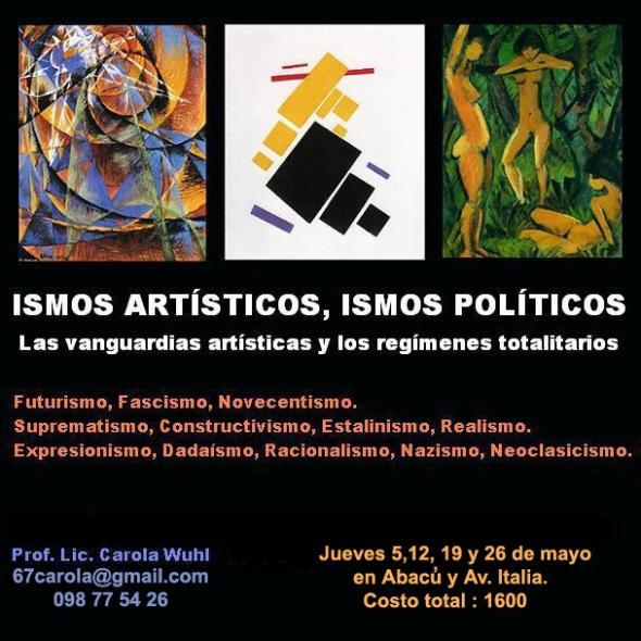 Cartel Ismos artísticos, ismos políticos 2016 con horarios